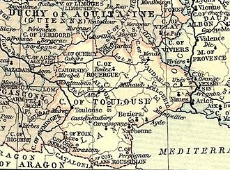 County of Toulouse - Map of the County of Toulouse in 1154