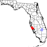 A state map highlighting Sarasota County in the southern part of the state. It is medium in size.