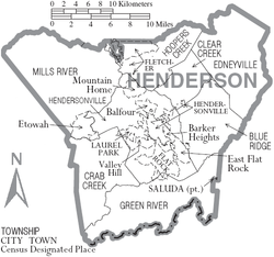 Map of Henderson County North Carolina With Municipal and Township Labels.PNG