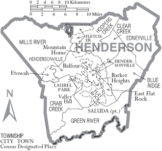 Henderson County, North Carolina - Map of Henderson County, North Carolina With Municipal and Township Labels
