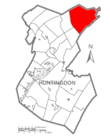 Map of Huntingdon County, Pennsylvania Highlighting Jackson Township