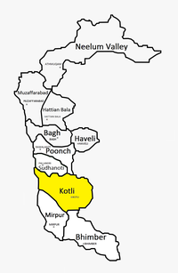 Map of Azad Kashmir with Kotli highlighted