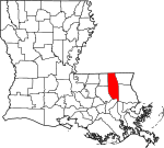 State map highlighting Tangipahoa Parish