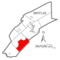 Map of Mifflin County Pennsylvania Highlighting Bratton Township.PNG