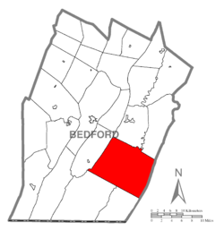Map of Bedford County, Pennsylvania highlighting Monroe Township