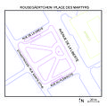Map of Place des Martyrs, Luxembourg - Plang vum Rousegäertchen - Plan Place des Martyrs, Luxembourg.jpg