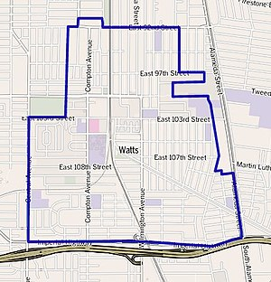 Watts, Los Angeles - Map of Watts as delineated by the Los Angeles Times
