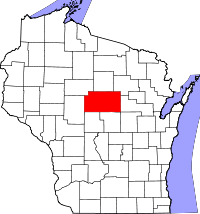 Map of Wisconsin highlighting Marathon County.svg
