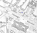 Map with the Salle Lacaze (blue) on the Carré Marigny of the Champs-Élysées in Paris 1869 - U Chicago.jpg