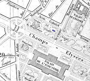 Théâtre des Folies-Marigny - The Folies-Marigny (blue) on an 1869 map of Paris