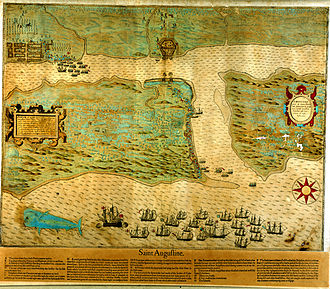 History of St. Augustine, Florida - Map depicting Sir Francis Drake's 1586 attack on St. Augustine