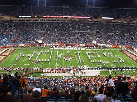 The Marching Virginians perform as part of the pregame festivities before the kickoff of the inaugural ACC Championship Game. Marching Virginians Showing Hokie Pride.jpg
