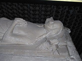 Margaret Mortimer, Baroness Berkeley - Effigy of Margaret Mortimer at right hand of her son Maurice de Berkeley, 4th Baron Berkeley(d.1368), St Augustine's Abbey, Bristol