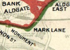 Mark Lane tube station - Mark Lane shown on part of a 1908 Tube map.