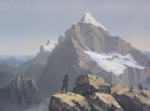 Slovenian nationalism - Romantic painting of the Triglav mountain by the Carinthian Slovene painter Markus Pernhart. Triglav is a national symbol of Slovenia that is displayed in the flag of Slovenia.