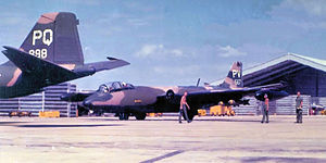 Phan Rang Air Base - Martin B-57B bombers at Phan Rang AB South Vietnam 1968.   8th Bombardment Squadron Martin B-57B-MA 53-3898 converted to B-57G in 1969. Returned to the United States and retired to MASDC as BM0092 February 7, 1974.  13th Bomb Squadron Martin B-57B-MA 52-1567 converted to RB-57B. Loaned to South Vietnam AF but remained under US control, 1965. Program cancelled and returned to USAF 20 Apr 1967. W/o when hit by ground fire but was able to fly back to Phan Rang 15 March 1969. Suffered dual flameout near Pleiku, South Vietnam. Both crew ejected and were rescued by USAF HH-43 helicopter.