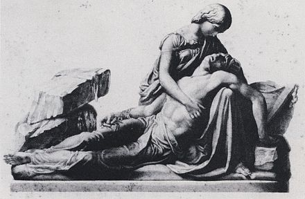 Engraving by George Stodart after a monument of Mary and Percy Shelley by Henry Weekes (1853) Mary and Percy Shelley. Engraving by George Stodart after monument by Henry Weekes.jpg