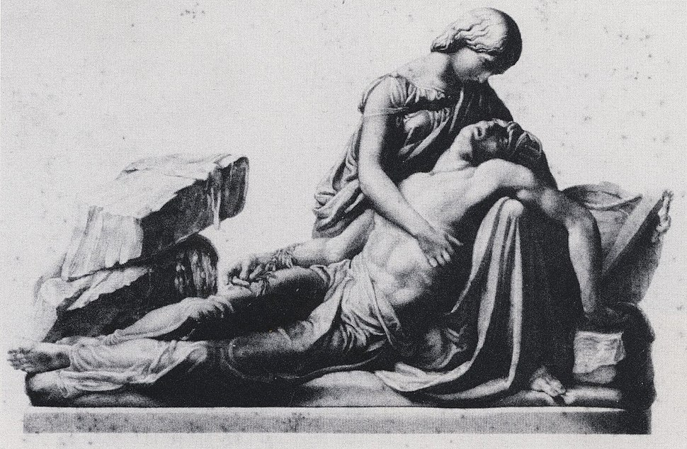 Mary and Percy Shelley. Engraving by George Stodart after monument by Henry Weekes