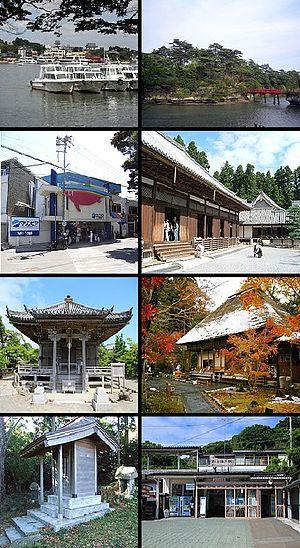 Matsushima, Miyagi - Top left: Matsushima Port, top right: Togetsukyō Bridge to Oshima Island, 2nd left: Matsushima Marinpia Aquarium (closed), 2nd right: Zuiganji Temple, 3rd left: Godaidō, 3rd right: Entsuin Temple, bottom left: Atago Shrine, bottom right: Matsushima Kaigan Train Station