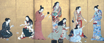 Seven women and a girl dressed in kimonos. Two women are playing cards, one is cleaning her teeth while holding a mirror, another is holding a twig, one is writing. Two women are engaged with the girl.