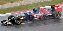 A picture of Max Verstappen driving a Toro Rosso TR10 during the 2015 Malaysian Grand Prix.