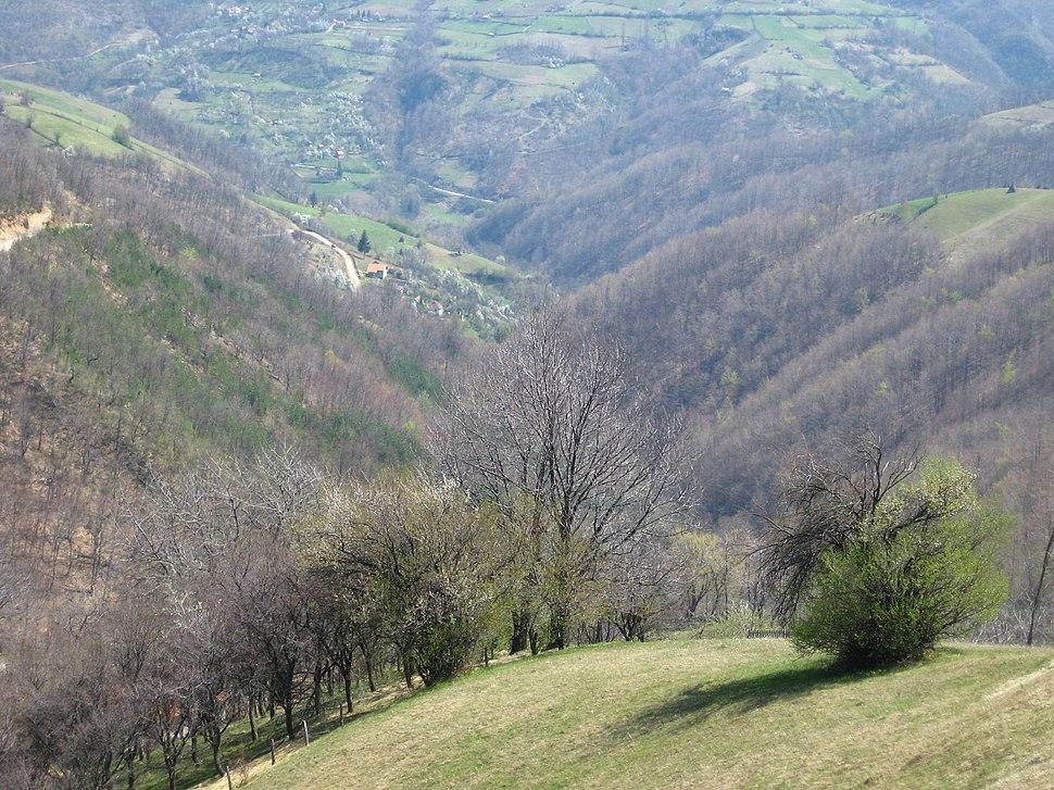 Medvednik - zapadna Srbija - selo Rebelj - pogled na dolinu Rebeljske reke 1