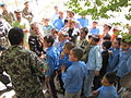 Members of the Afghan Air Corps provide much needed school supplies to a school about 2 miles north of Kabul International Airport (4678381124).jpg