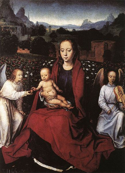 File:Memling Virgin and Child in a Rose Garden with two Angels.jpg