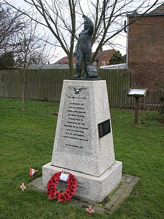 "No. 6 Group RCAF - Memorial to 6 Group RCAF squadrons near RAF Croft. Text says ""In memory of and to honour those who served at Croft during World War II. Dedicated by the members of 431 Iroquois and 434 Bluenose R.C.A.F Squadrons. 6 Group Bomber Command. 26 September 1987""."