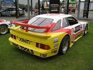 Merkur XR4Ti - A former Trans-Am Merkur XR4Ti which won the GTO class at the 1988 24 Hours of Daytona: The large double rear wing is evident.