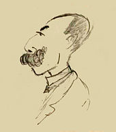 pencil drawing of a balding, moustached man in left profile