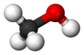 Ball and stick model of methanol