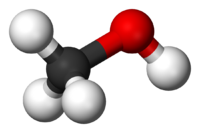 metanolün yarı boşluk dolduran moleküler diyagramı;  bir karbon ve üç hidrojen bir tetrahedrom oluşturur ve tetrahedronun karbon noktasında bir oksijen atomu bulunur, bu da bir hidrojen atomuna açılı olarak bağlanır.