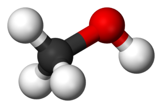 Modell av en metanol-molekyl.