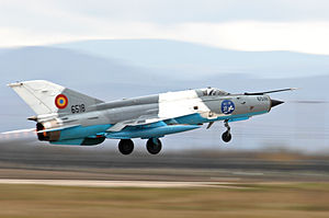 MiG-21 LanceR taking off Romania Oct 2009.jpg