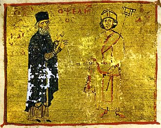 Michael Psellos - Michael Psellos (left) with his student, Byzantine Emperor Michael VII Doukas.