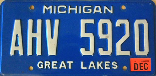 Michigan License Plate AHV 5920