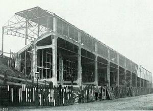 Concrete and Constructional Engineering - The concrete Midland Road stand for Bradford City Football Club nearing completion in 1908.