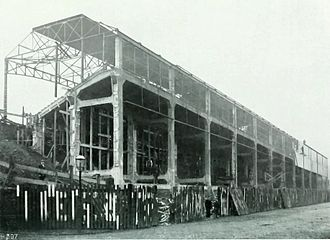 Archibald Leitch - The concrete Midland Road stand for Bradford City Football Club nearing completion in 1908