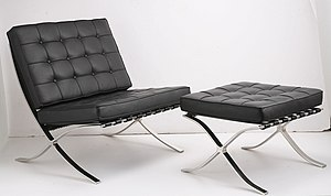 Florence Knoll - The Barcelona Chair, by Ludwig Mies van der Rohe; Mies, a close friend and mentor to Florence Knoll, during her time at the Illinois Institute of Technology, formally granted Knoll the production rights to the Barcelona Chair and Stool in 1953. The designs immediately became a signature of the Knoll brand and have been built to Mies van der Rohe's exacting standards ever since.