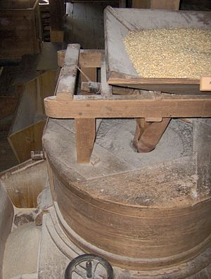 Cornmeal - Grindstones inside Mingus Mill, in the Great Smoky Mountains of North Carolina. Corn is placed in a hopper (top right) which slowly feeds it into the grindstone (center). The grindstone grinds the corn into cornmeal, and empties it into a bucket (lower left). The grindstones are turned by the mill's water-powered turbine.