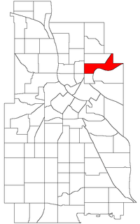 Location of Northeast Park within the U.S. city of Minneapolis
