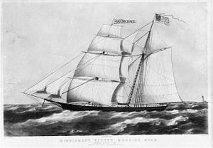 Clement Drew - Image: Missionary packet Morning Star passing Boston Light Buffords Lithography LC