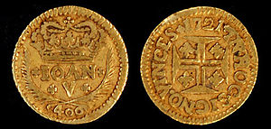 "In hoc signo vinces - ""In hoc signo vinces"" on a 1721 Portuguese coin from the reign of King João V."