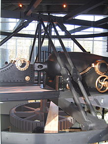 Photo showing side view of the cutaway replica of the turret in the Mariner's Museum