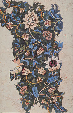Design for a hand woodblock printed textile, showing the complexity of the blocks used to make repeating patterns.  Evenlode by William Morris, 1883.
