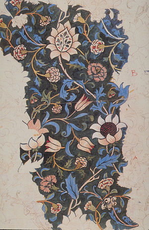 Textile printing - Design for a hand woodblock printed textile, showing the complexity of the blocks used to make repeating patterns.  Evenlode by William Morris, 1883.