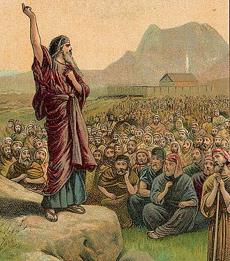 Va'etchanan - Moses Pleading with Israel (illustration from a Bible card published 1907 by the Providence Lithograph Company)