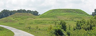 Ocmulgee Mounds National Historical Park - The Great Temple Mound (right) and the Lesser Mound (left)