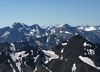 Coast Mountains - Coast Mountains with Mount Waddington in middle of far background